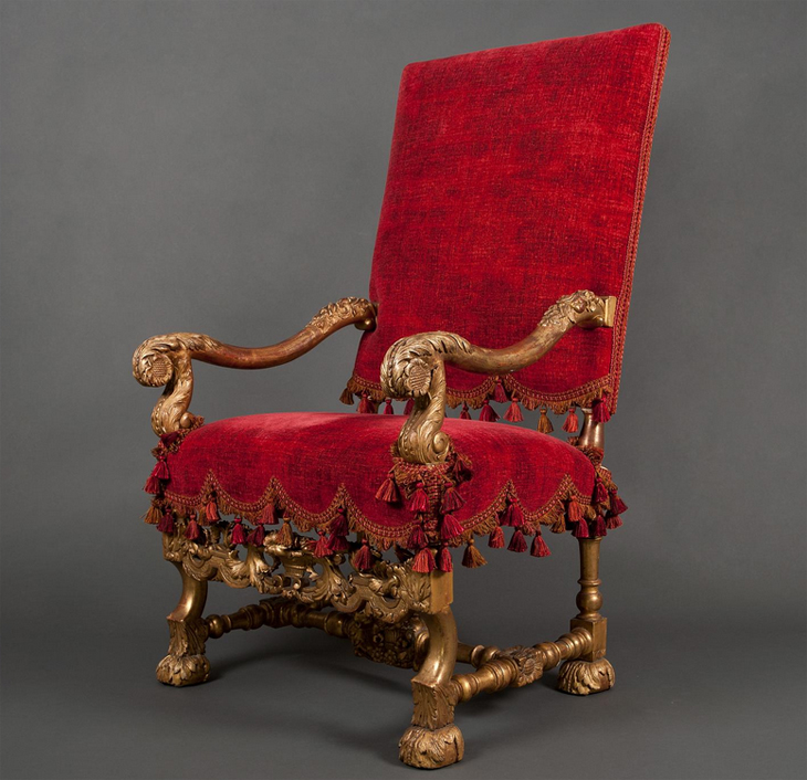 Louis XIV Chair Red Cover