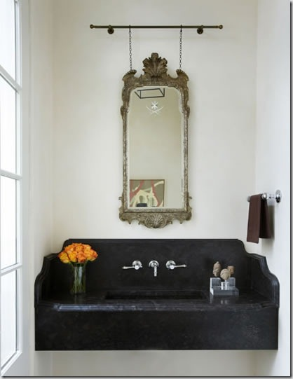 Black and white and cream softened with patina and the use of natural stone- serene and calm
