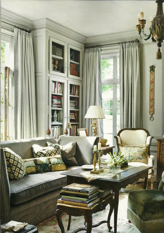 wonderful mix of fabrics add interest to the general palette of grey neutrals