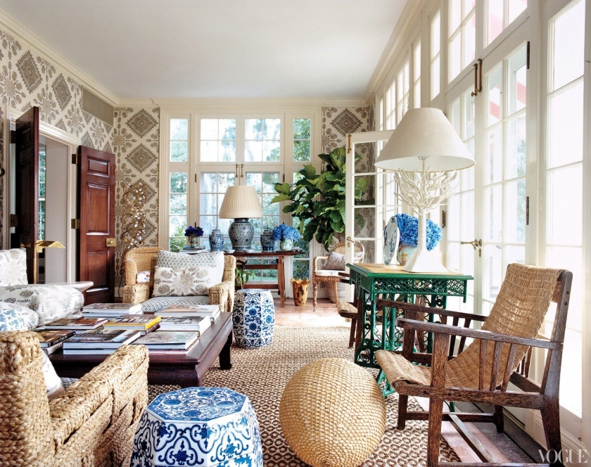 tory burch sunroom inspiration rattan and wallpaper